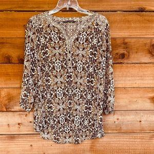 Sheer brown design blouse
